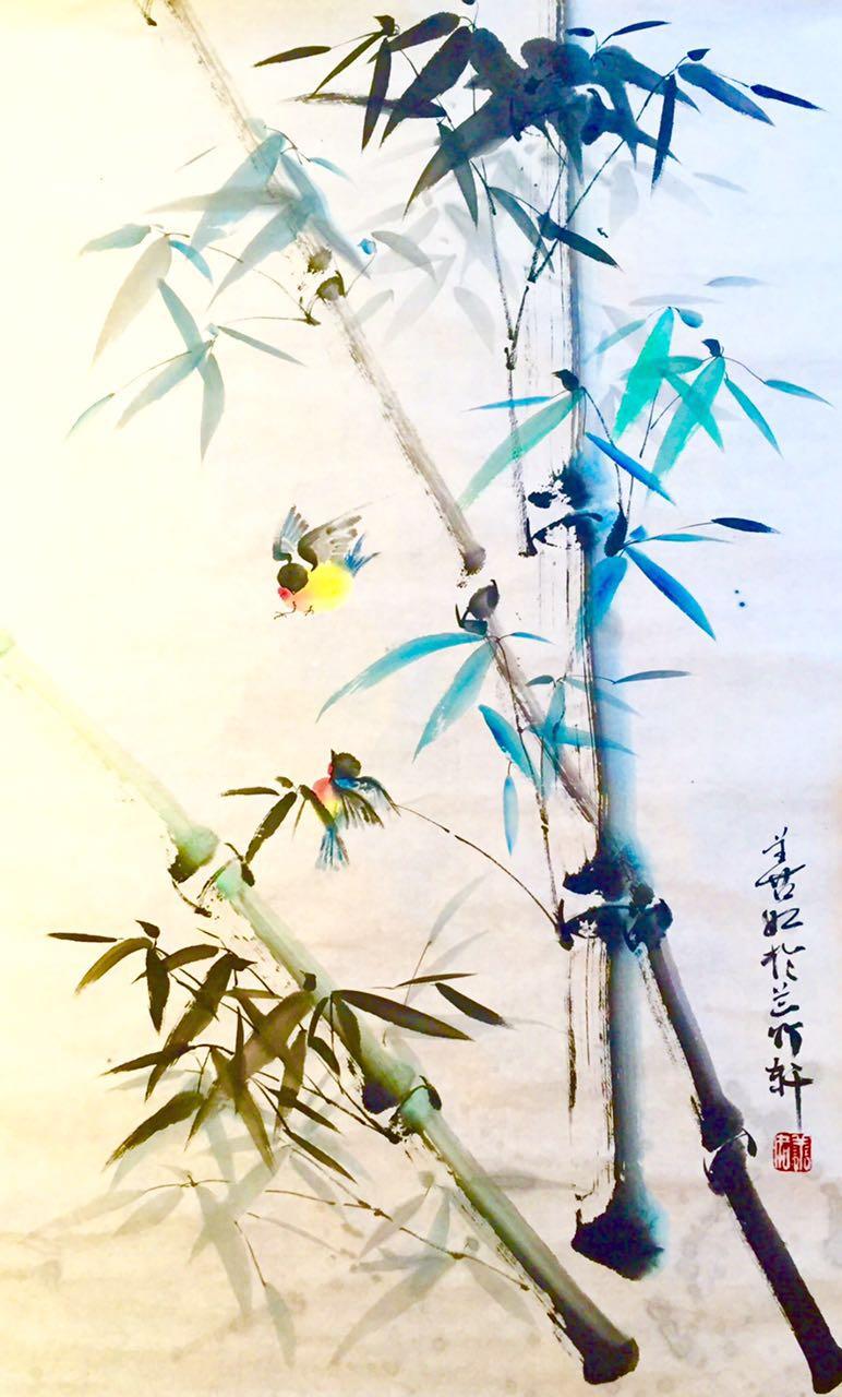 王晓燕(善如)书画-竹雀图